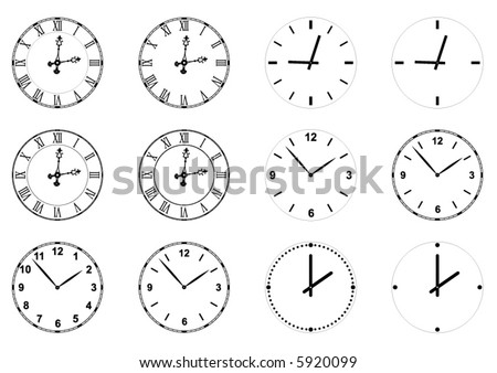 set of vector clock faces and hands including gothic style with roman numerals - stock vector