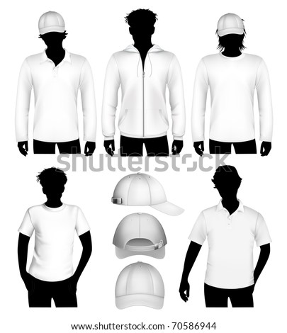 Set of vector clothes design template with human body silhouette.