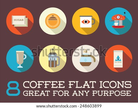 Set of Vector Coffee Elements and Coffee Accessories Illustration can be used as Logo or Icon in premium quality Flat icons style  - stock vector