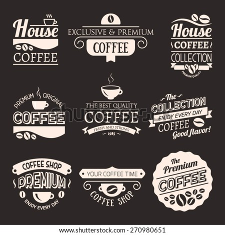 Set of Vector Coffee Elements. Logo template. Corporate icon. Brand visualization. Eco, bio, organic, natural coffee concept.