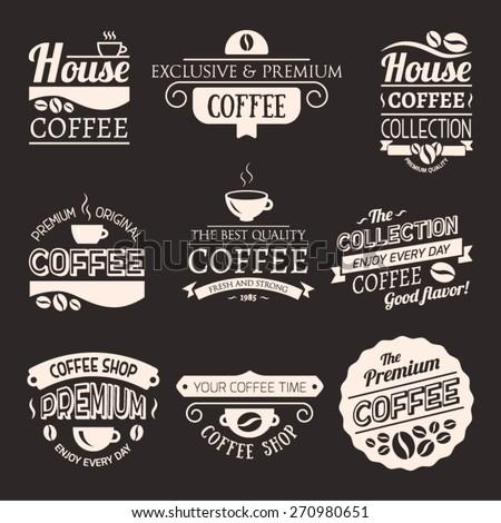 Set of Vector Coffee Elements. Logo template. Corporate icon. Brand visualization. Eco, bio, organic, natural coffee concept. - stock vector