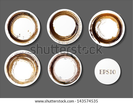 Set of vector coffee stains. Vector illustration. - stock vector
