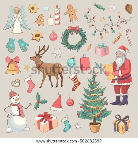 Set of vector color drawings on the theme of the New Year holidays, Christmas. Isolated on a gray background. Santa, snowman, Christmas tree, gifts, Christmas characters and attributes of the holiday
