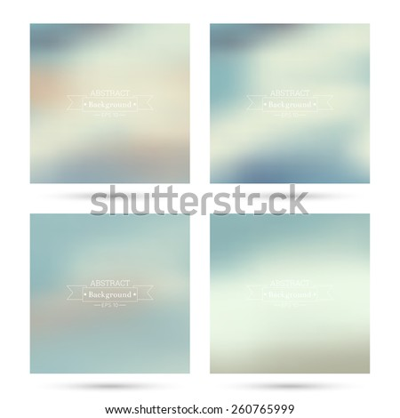 Set of vector colorful abstract backgrounds blurred. For mobile app, book cover, booklet, background, poster, web sites, annual reports. blue, green, turquoise, cream - stock vector