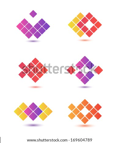 set of vector colorful abstract geometric icons, logos isolated - stock vector