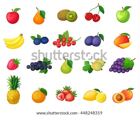 Set of vector colorful cartoon fruit icons: banana, apple, pear, kiwi, cherries, blueberries, currants, plums, mangoes, raspberries, gooseberries, grapes, pineapple, orange.