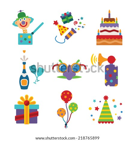 Set of vector colorful celebration icons in flat style like pie champagne wineglass gift box air balloon funny mask cap and jack in the box - stock vector
