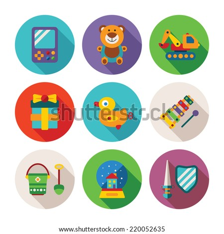 Set of vector colorful kids toys icons in flat style like portable game teddy bear excavator duck gift bucket snow globe sword shield and xylophone - stock vector