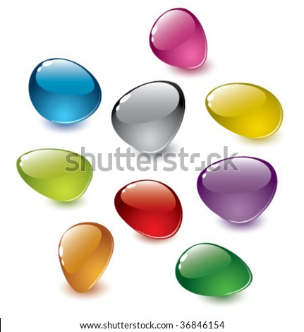 set of vector colorfull abstract glass stones - stock vector