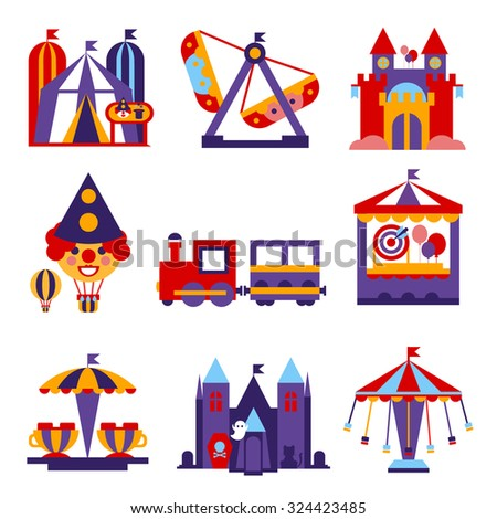 Set of vector colourful flat design amusement park and merry-go-round icons - stock vector