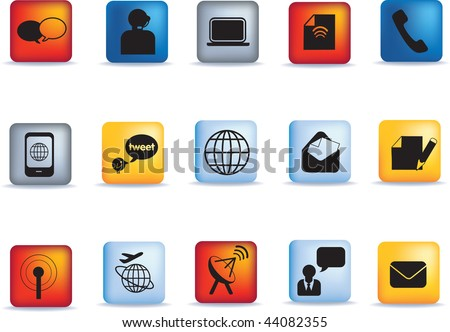 Set of vector communication icon button set - stock vector