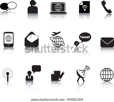 Set of vector communication icon button silhouettes - stock vector