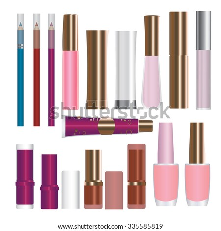 Set of vector cosmetic packages samples for product design: lipstick; mascara; nailpolish - stock vector