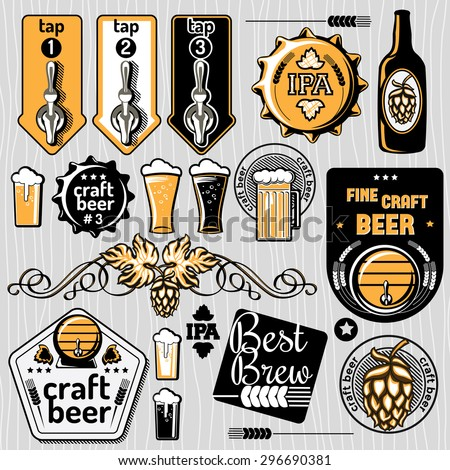 Set of vector craft beer emblems and design elements - stock vector