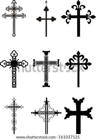 set of vector crosses, eps 10  - stock vector