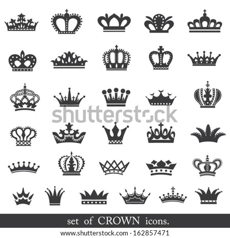 Set of vector crown icons.