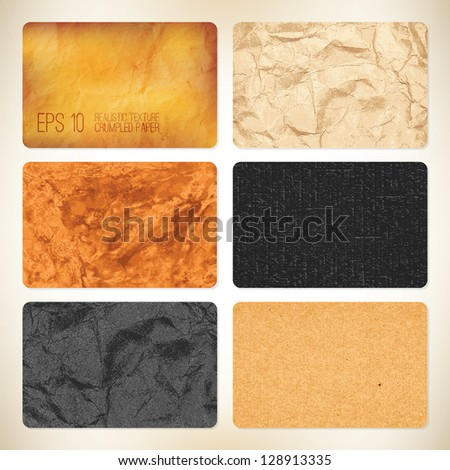 Set of 6 vector crumpled paper backgrounds. For business card - stock vector