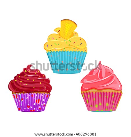 Set of vector cupcakes, muffins with different toppings and cases. Cream topping with sprinkles cupcake collection isolated on white. Great as web icons, design elements or labels, wrapping paper