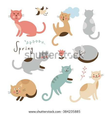 Set of vector cute cats. Cartoon cats in various poses - stock vector