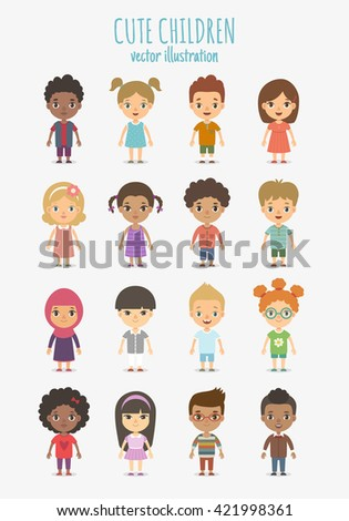 Set of vector cute children isolated on white background. Different nationalities and dress styles. - stock vector