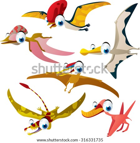 Set of vector cute comic pterodactyls. Dinosaurs series - stock vector