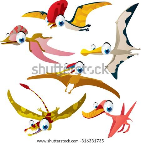 Set of vector cute comic pterosaurs. Dinosaurs series - stock vector