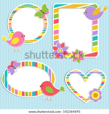 Set of vector cute frames - stock vector