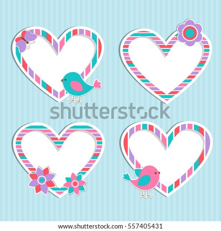 Set of vector cute frames-hearts with bird,flower and butterfly. Design elements for Valentine's day, birthday