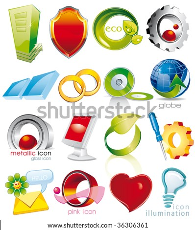 Set of vector 2D and 3D shiny, brilliant glossy Colorful Design elements. Collection_1 - stock vector