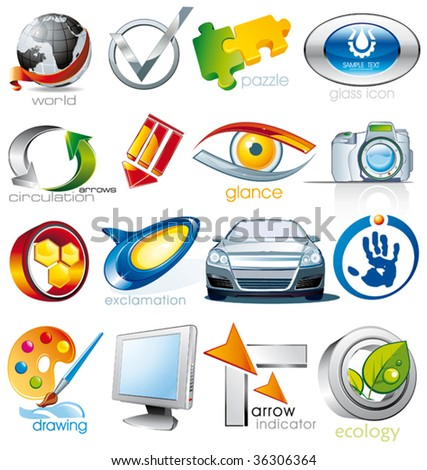 Set of vector 2D and 3D shiny, brilliant glossy Colorful Design elements. Collection_2 - stock vector