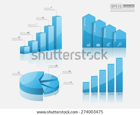 Set of vector 3d graph modern infographic elements, business - stock vector