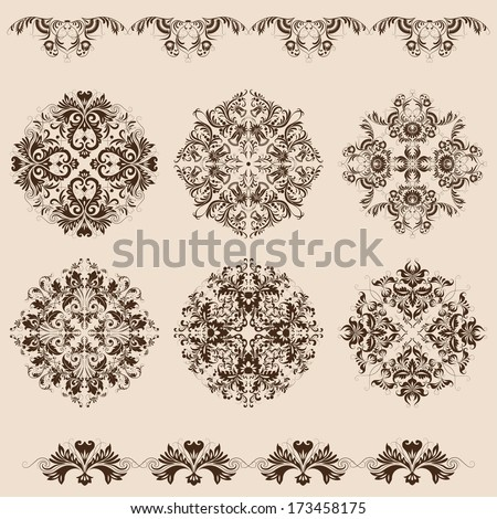 Set of vector damask  filigree ornaments - stock vector