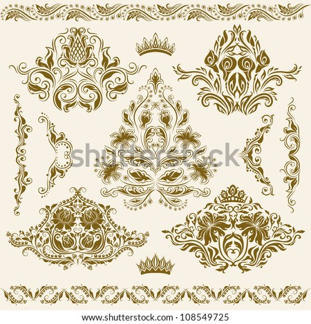 Set of vector damask ornaments. Floral elements, borders, corners for design. Page decoration. - stock vector