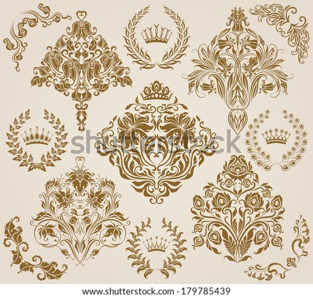 Set of vector damask ornaments. Floral elements, borders, crowns, laurel wreaths for design. Page decoration. - stock vector