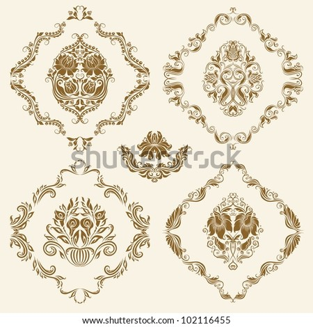 Set of vector damask ornaments. Floral elements for design. - stock vector