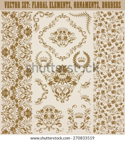 Set of vector damask ornaments. Hand-drawn floral elements, seamless patterns, borders, arabesque, crowns, laurel wreaths for design. Page decoration in vintage style. - stock vector