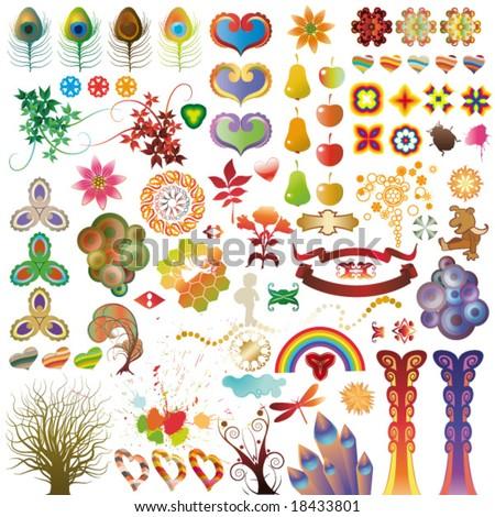 set of vector decoration elements - stock vector