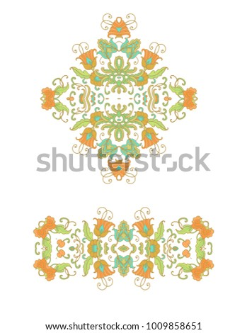 Set of vector decorative elements on white background
