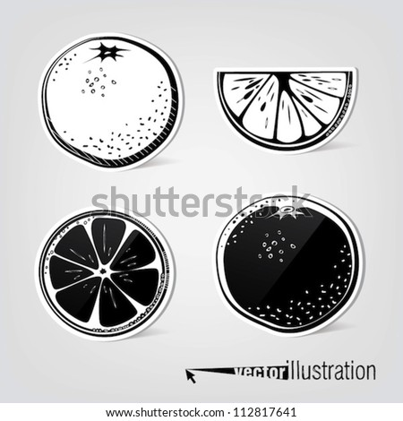 Set of vector decorative oranges - stock vector