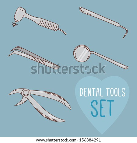 Set of vector dental tools. Cartoon style. Teeth treatment and care. Dental collection for your design. Illustrations for children dentistry and kids about toothache, care and treatment. - stock vector