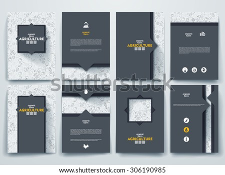 Set of vector design brochures with doodles backgrounds on Agriculture theme. - stock vector