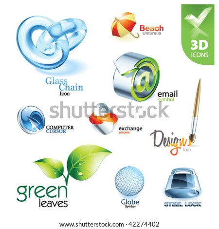Set of vector design elements 13. 3D icons - stock vector