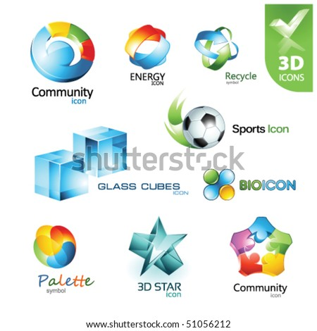 Set of vector design elements 14. 3D icons. - stock vector