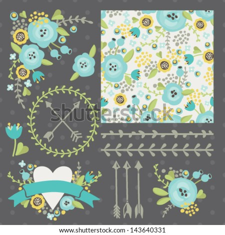 Set of vector design elements, including seamless pattern, floral vignettes, borders, wreaths and ribbons. Hand drawn floral collection. - stock vector