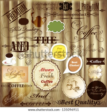 Set of vector design elements,  quality and coffee labels for vintage design - stock vector