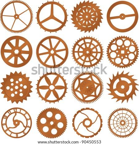 Set of vector design elements - watch gears - stock vector