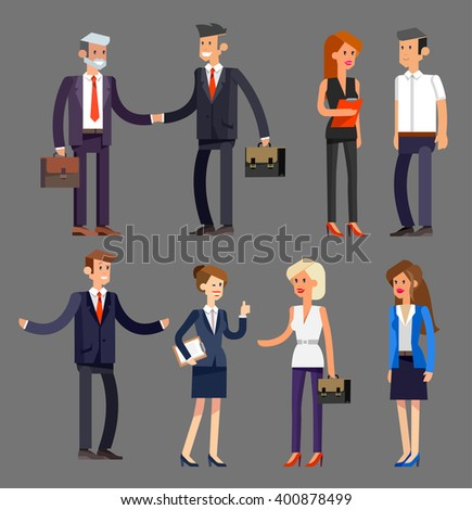 Set of Vector detailed characters people, business men and women in action. Shake hands, with a briefcase, secretary, big boss, startup man, colleagues, business lifestyle - stock vector