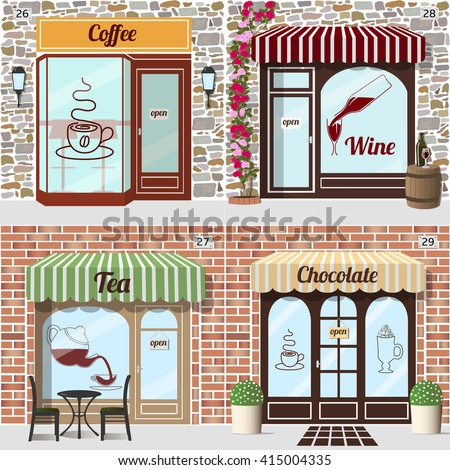 Set of vector detailed design coffee, wine, tea and chocolate shop. Beverage's stickers on windows. Building facade of brick and stone. eps 10. - stock vector