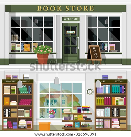 Set of vector detailed flat design bookstore facade and interior. Cool graphic interior design for book shop with books, book cases, shelves, places for reading. Flat style vector illustration. - stock vector