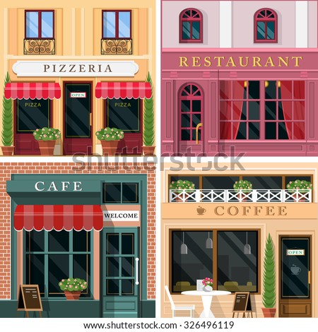 Set of vector detailed flat design restaurants and cafes facade icons. Cool graphic exterior design for restaurant business. - stock vector